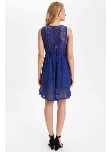 DeFacto Kalın Askılı Dantel Detaylı Örme Elbise Mavi